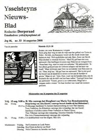 Ysselsteyns Nieuwsblad 2008-08-16