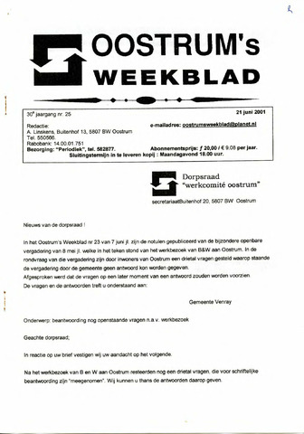 Oostrum's Weekblad 2001-06-21