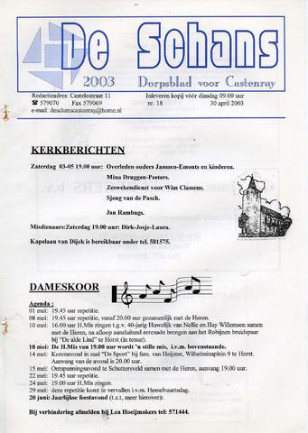 Castenrays dorpsblad De Schans 2003-04-30