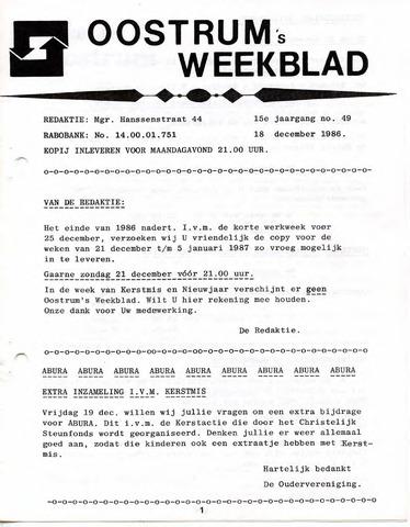 Oostrum's Weekblad 1986-12-18