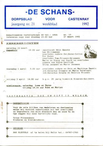 Castenrays dorpsblad De Schans 1992-03-27