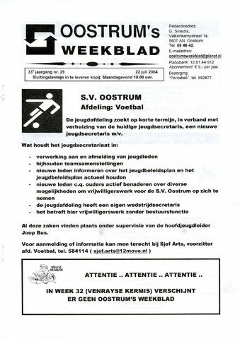 Oostrum's Weekblad 2004-07-22