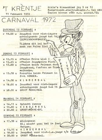 Oirlo's dorpsblad 't Krèntje 1972-02-11