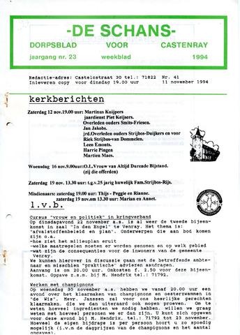 Castenrays dorpsblad De Schans 1994-11-11