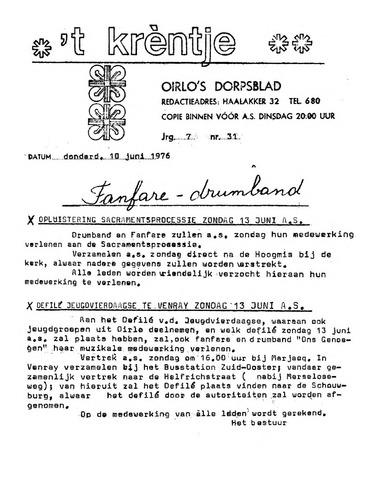 Oirlo's dorpsblad 't Krèntje 1976-06-10