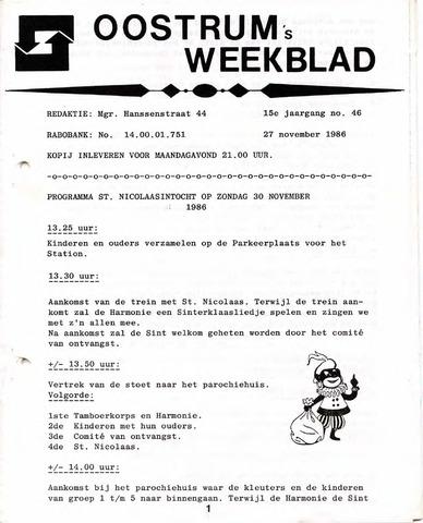 Oostrum's Weekblad 1986-11-27