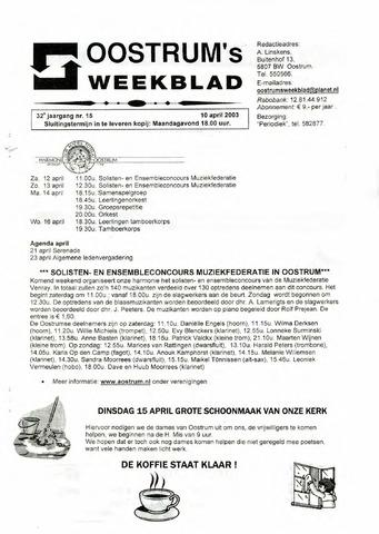 Oostrum's Weekblad 2003-04-10