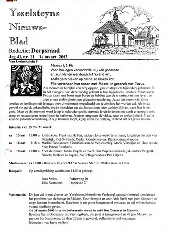 Ysselsteyns Nieuwsblad 2003-03-14