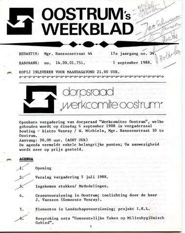 Oostrum's Weekblad 1988-09-01