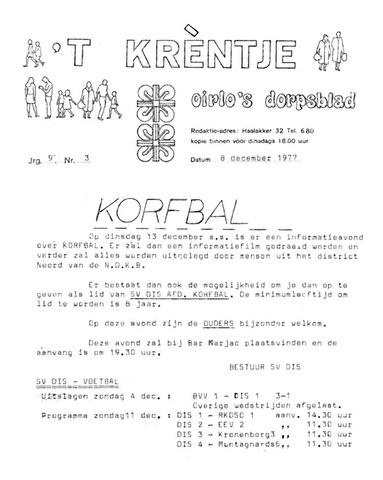 Oirlo's dorpsblad 't Krèntje 1977-12-08