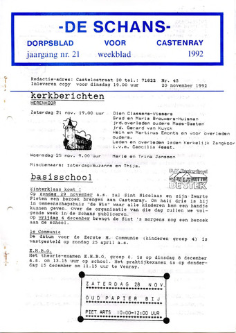 Castenrays dorpsblad De Schans 1992-11-20