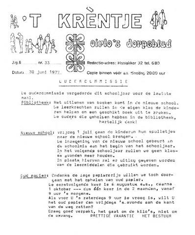 Oirlo's dorpsblad 't Krèntje 1977-06-30