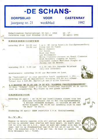 Castenrays dorpsblad De Schans 1992-04-24