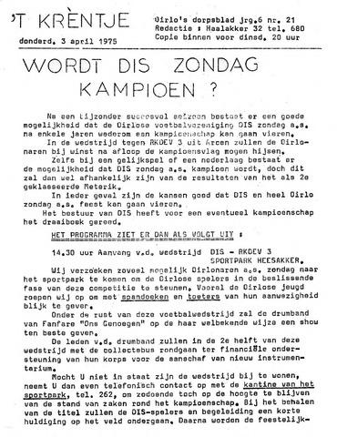 Oirlo's dorpsblad 't Krèntje 1975-04-03