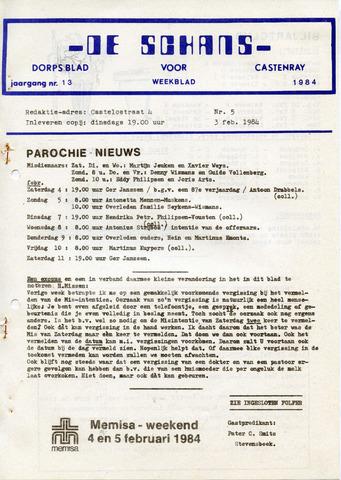 Castenrays dorpsblad De Schans 1984-02-03