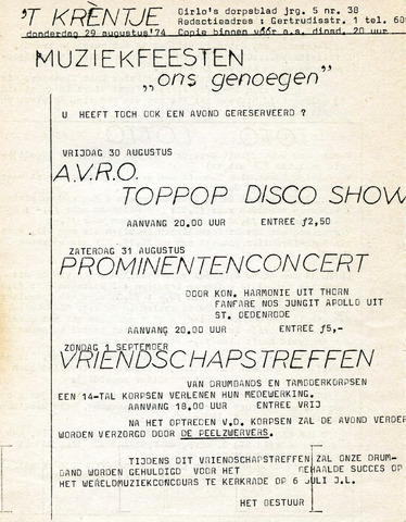 Oirlo's dorpsblad 't Krèntje 1974-08-29