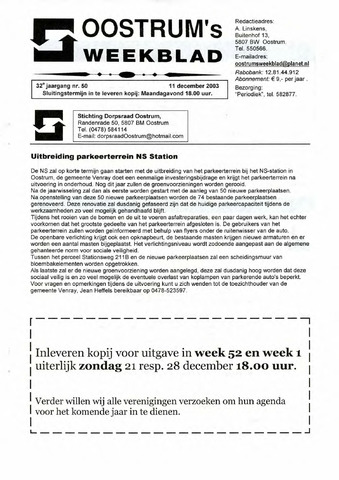 Oostrum's Weekblad 2003-12-11