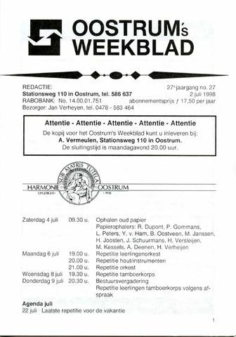 Oostrum's Weekblad 1998-07-02