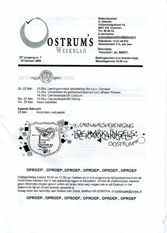 Oostrum's Weekblad 2009-02-19