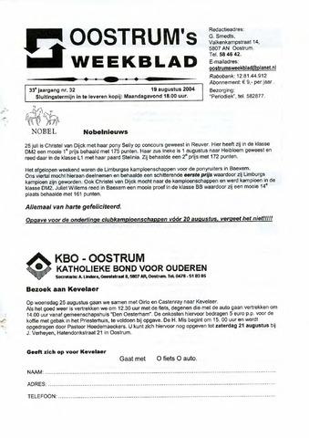 Oostrum's Weekblad 2004-08-19