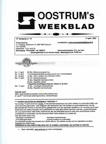 Oostrum's Weekblad 2002-04-11