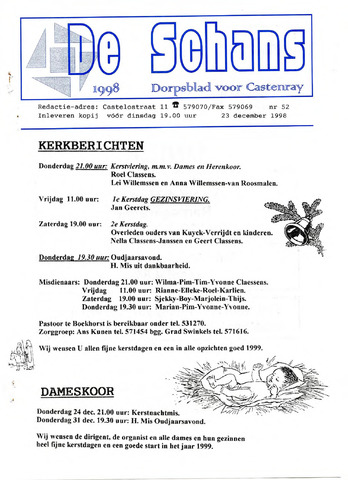 Castenrays dorpsblad De Schans 1998-12-23