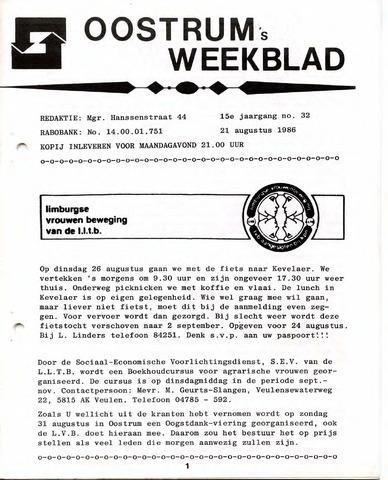 Oostrum's Weekblad 1986-08-21