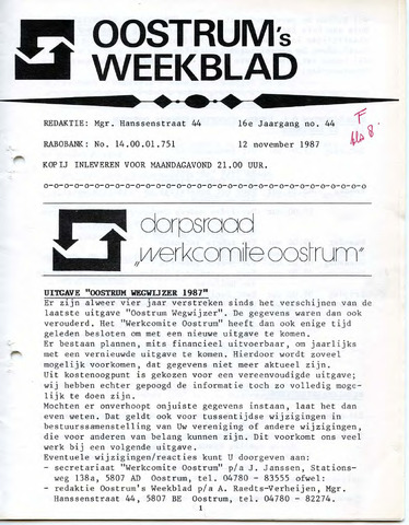 Oostrum's Weekblad 1987-11-12