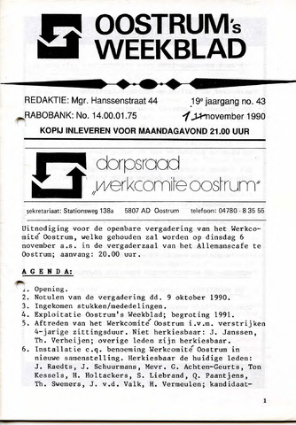 Oostrum's Weekblad 1990-11-01