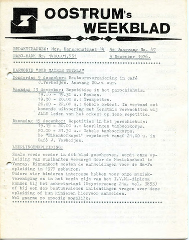 Oostrum's Weekblad 1976-12-09