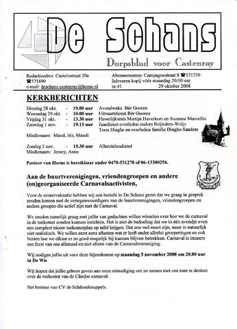 Castenrays dorpsblad De Schans 2008-10-29