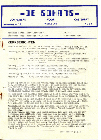 Castenrays dorpsblad De Schans 1984-12-07