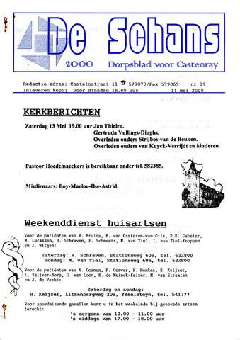 Castenrays dorpsblad De Schans 2000-05-11