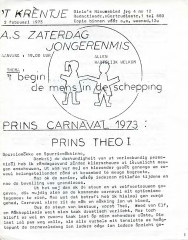 Oirlo's dorpsblad 't Krèntje 1973-02-02