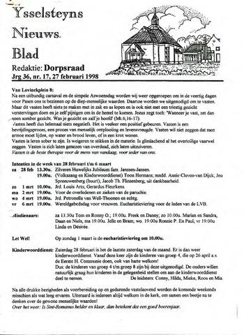 Ysselsteyns Nieuwsblad 1998-02-27