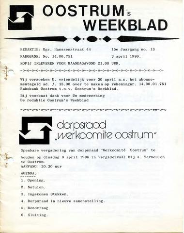 Oostrum's Weekblad 1986-04-03