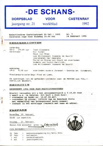 Castenrays dorpsblad De Schans 1992-02-14