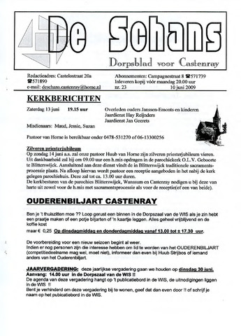 Castenrays dorpsblad De Schans 2009-06-10