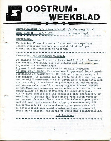 Oostrum's Weekblad 1976-03-11