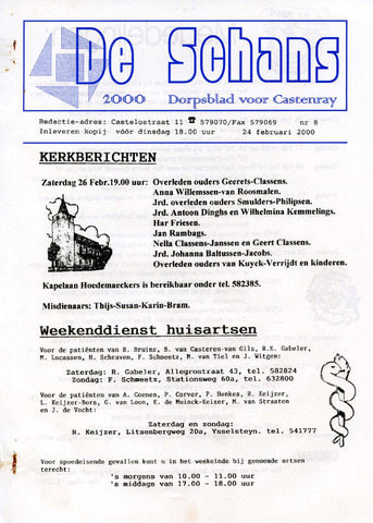 Castenrays dorpsblad De Schans 2000-02-24