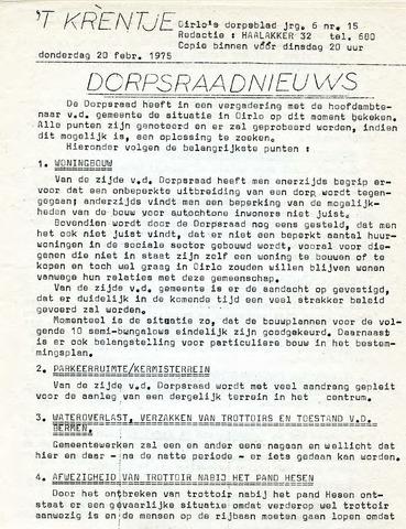 Oirlo's dorpsblad 't Krèntje 1975-02-20
