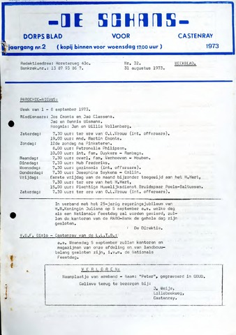 Castenrays dorpsblad De Schans 1973-08-31