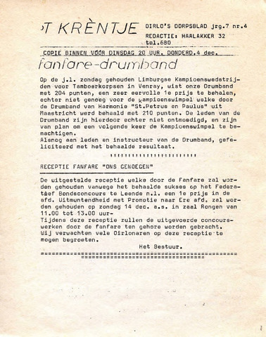 Oirlo's dorpsblad 't Krèntje 1975-12-04