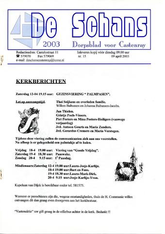 Castenrays dorpsblad De Schans 2003-04-09