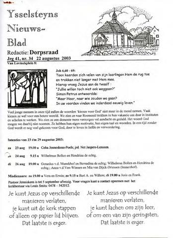 Ysselsteyns Nieuwsblad 2003-08-22
