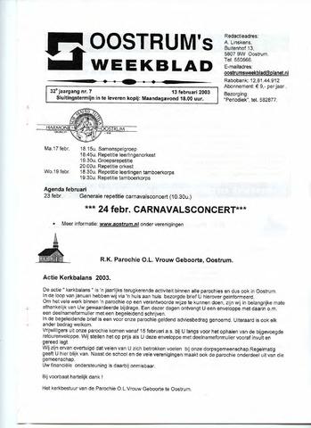 Oostrum's Weekblad 2003-02-13