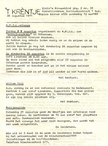 Oirlo's dorpsblad 't Krèntje 1971-08-20