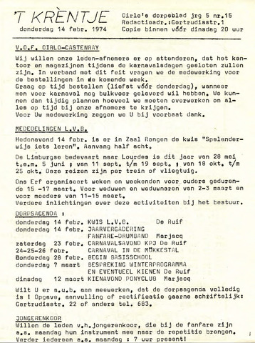 Oirlo's dorpsblad 't Krèntje 1974-02-14