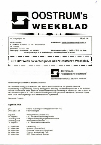 Oostrum's Weekblad 2001-07-26