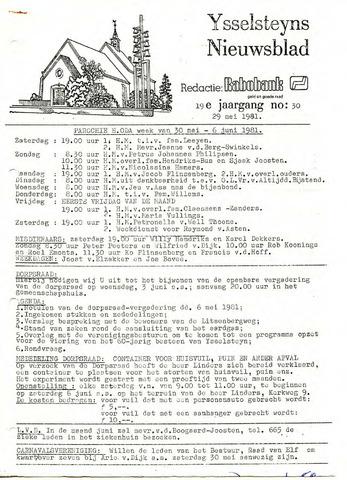 Ysselsteyns Nieuwsblad 1981-05-29